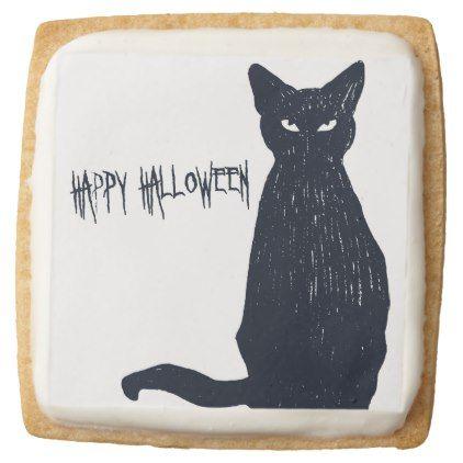Halloween Black Cat Silhouette Square Shortbread Cookie - halloween