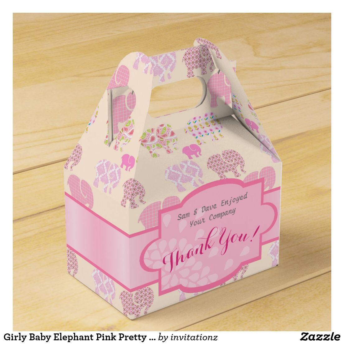 Girly Baby Elephant Pink Pretty Personalized Gable Favor Box - Baby ...
