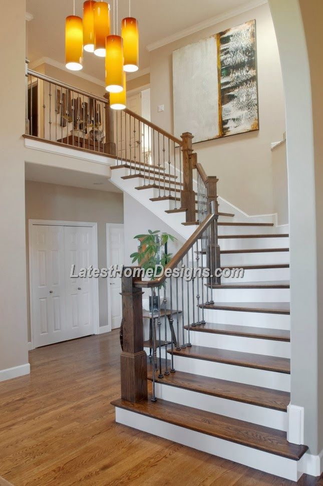 Beautiful wood stairs design for Indian duplex house - Latest Home