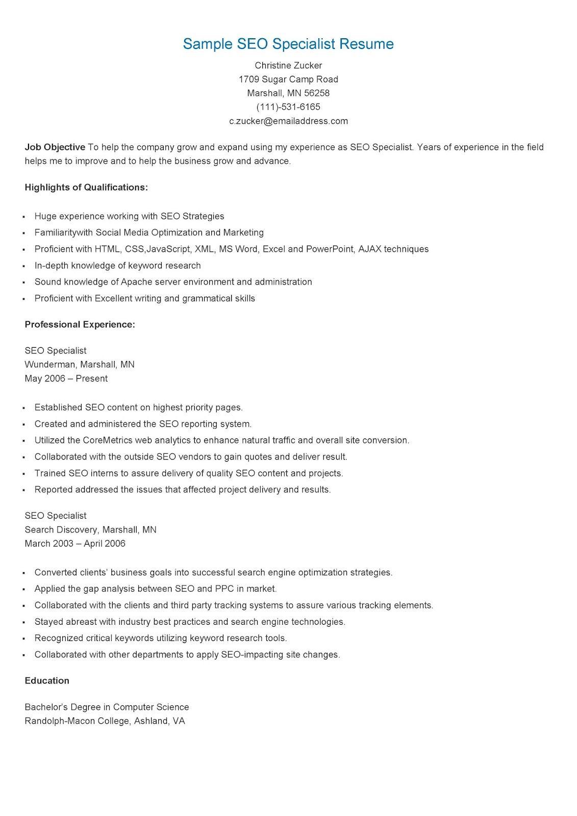 Sample Seo Specialist Resume Seo Specialist Resume Seo Expert