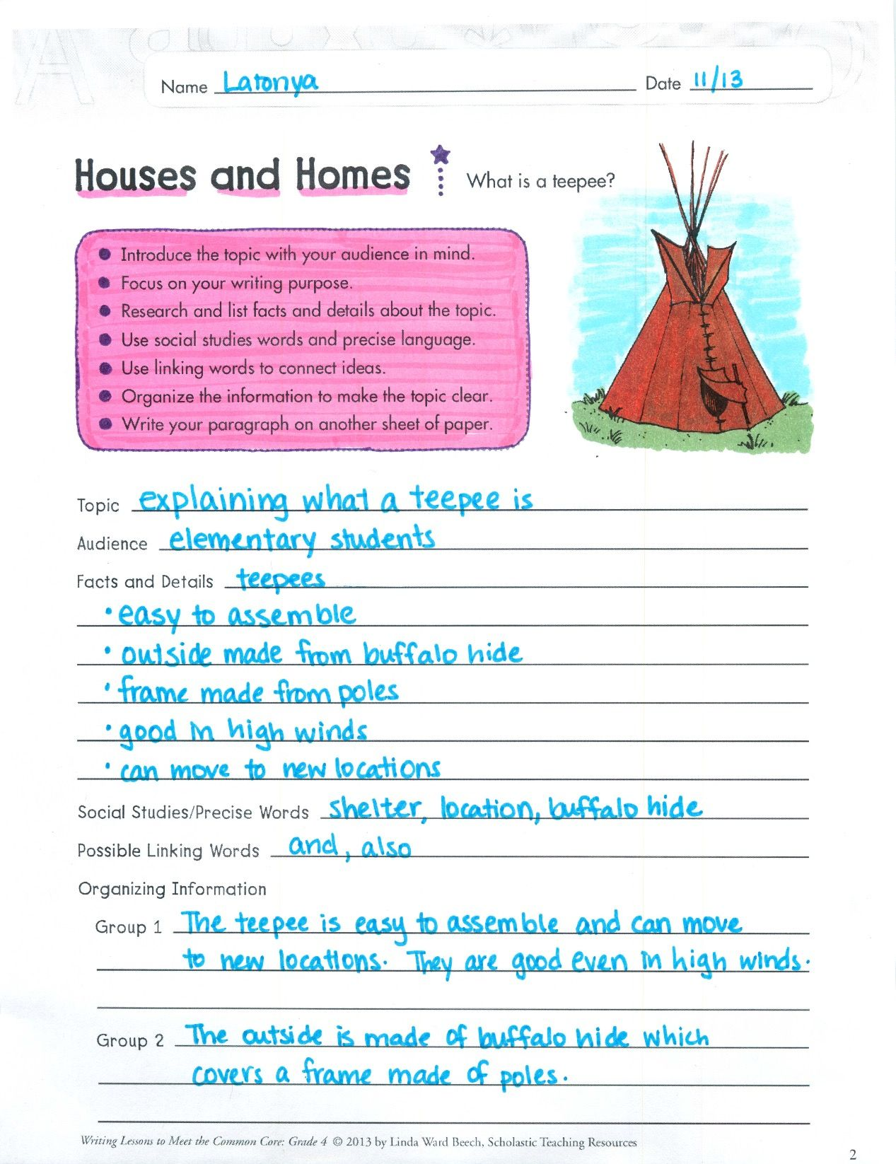 What Is A Teepee This Fun Step By Step Lesson On Informative Writing Includes Sample Text