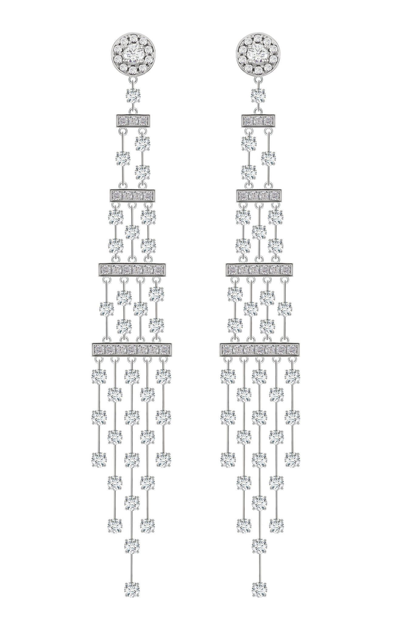 18 karat white gold diamond chandelier earrings each earring 18 karat white gold diamond chandelier earrings each earring features 74 round brilliant cut diamonds arubaitofo Gallery