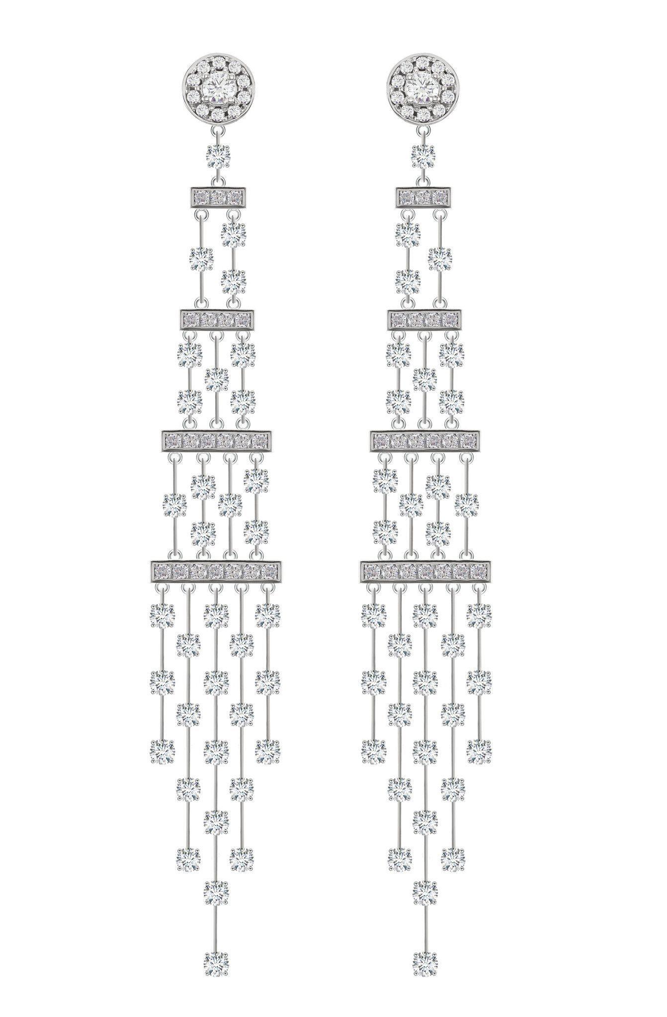 18 karat white gold diamond chandelier earrings each earring featu 18 karat white gold diamond chandelier earrings each earring features 74 round brilliant cut diamonds approximate total diamond weight is 362ctw aloadofball Choice Image