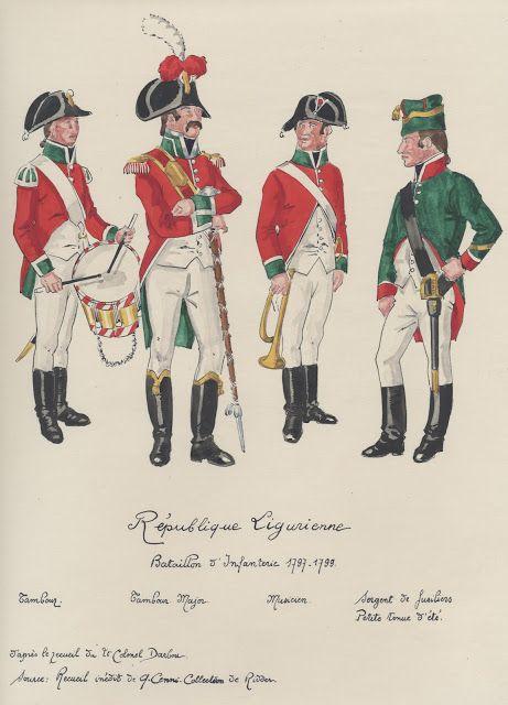 Ligurian Republic; Battalion of Infantry. L to R Drummer, Drum Major, musician and Fusilier Sergeant, 1797-98.