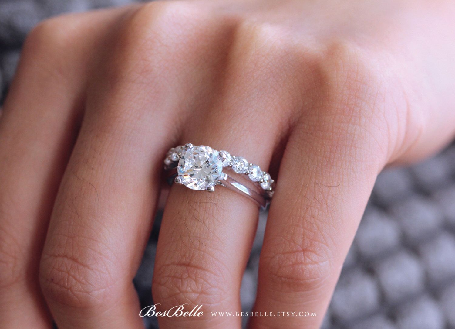 Unique solitaire Engagement Ring with Diamond Wedding Band | Wedding ...