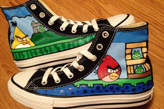 a22c4d9b8bee Angry Birds Hand Painted Converse Shoes by CandysCustomPaints ...