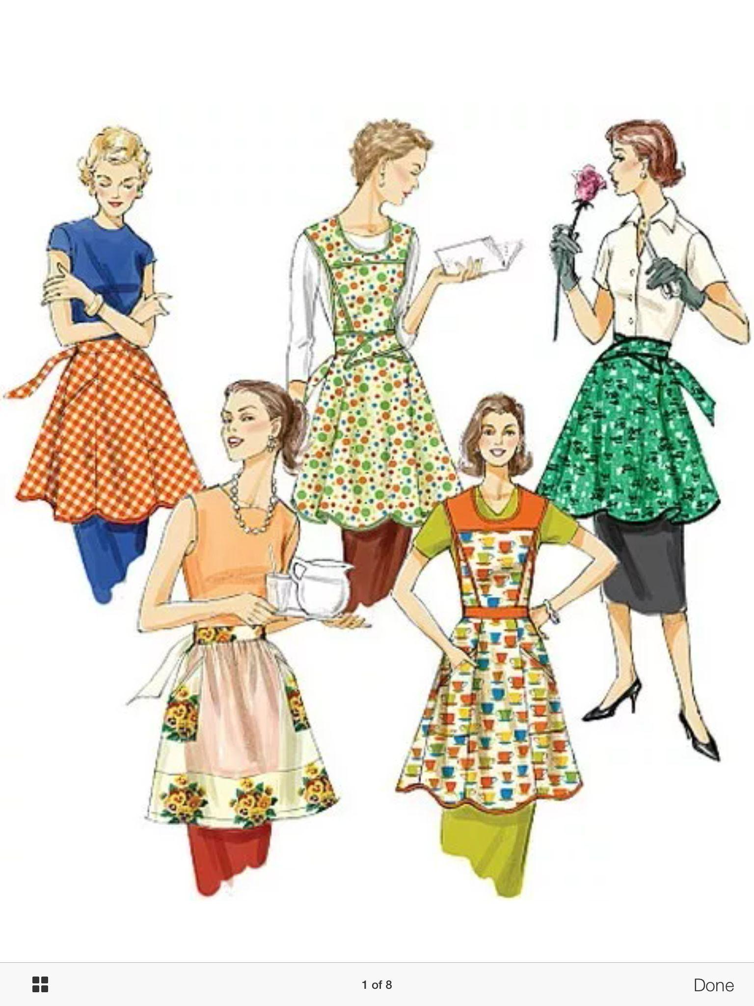 Vintage aprons | delántañtales | Pinterest | Delantal retro, Retro y ...