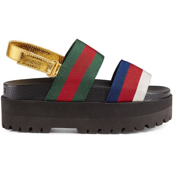 c96861c45 Gucci Web Platform Sandal ( 550) ❤ liked on Polyvore featuring shoes