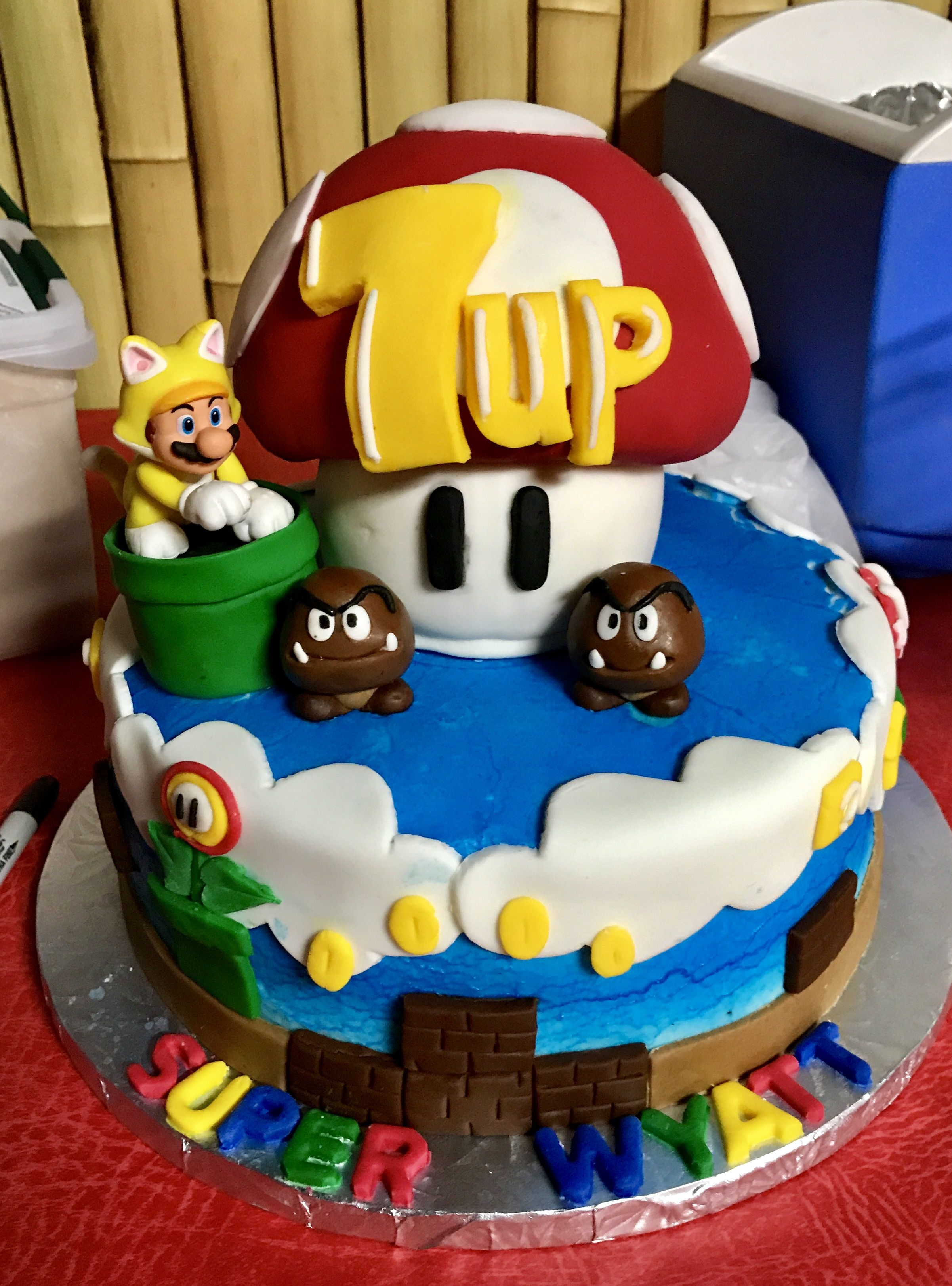 Marvelous Cake I Made For My Sons 7Th Birthday Mushroom Is A Giant Rice Personalised Birthday Cards Beptaeletsinfo