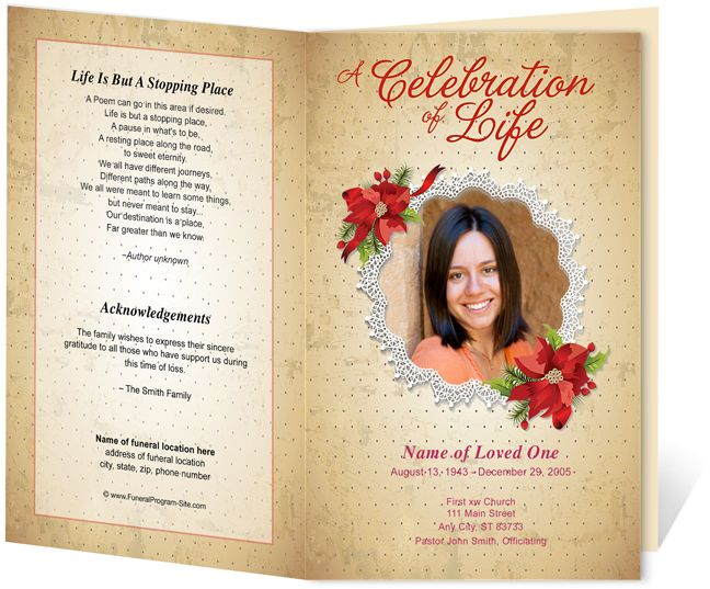 Floral Theme : Carol Preprinted Title Letter Single Fold Program Template  Perfect For A Loved Oneu0027s  Memorial Card Template Word
