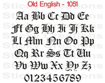 Custom Text Old English Font Customized Personalized