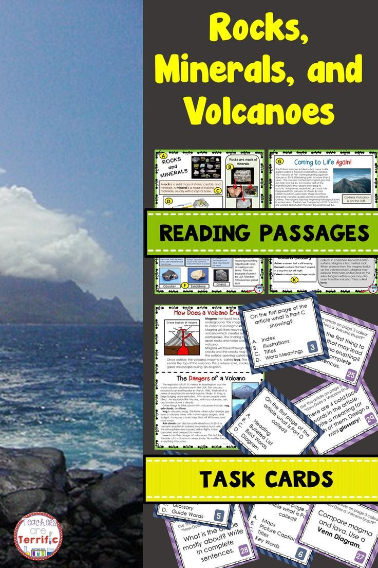 Rocks Minerals And Volcanoes Non Fiction Task Cards