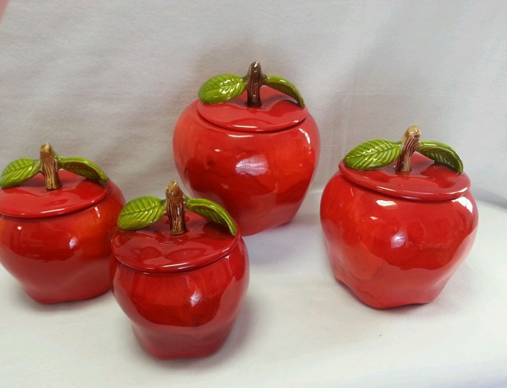 Rare Vintage Handcrafted Candy Apple Red Ceramic 8 Pc Canister Set Mint L K Unbranded Candy Apple Red Apple Kitchen Decor Canister Sets