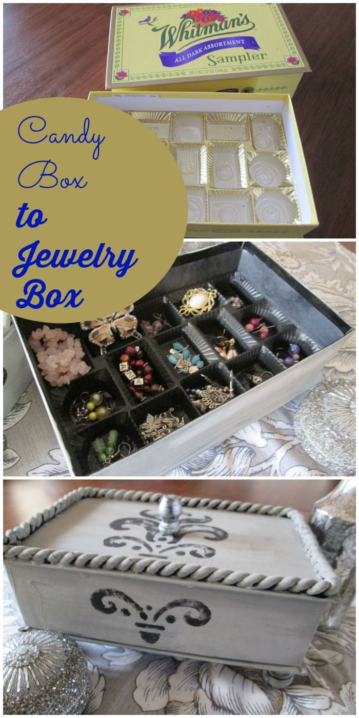 From candy box to lovely jewelry box ~ the plastic candy compartments are perfect for keeping jewelry separated.
