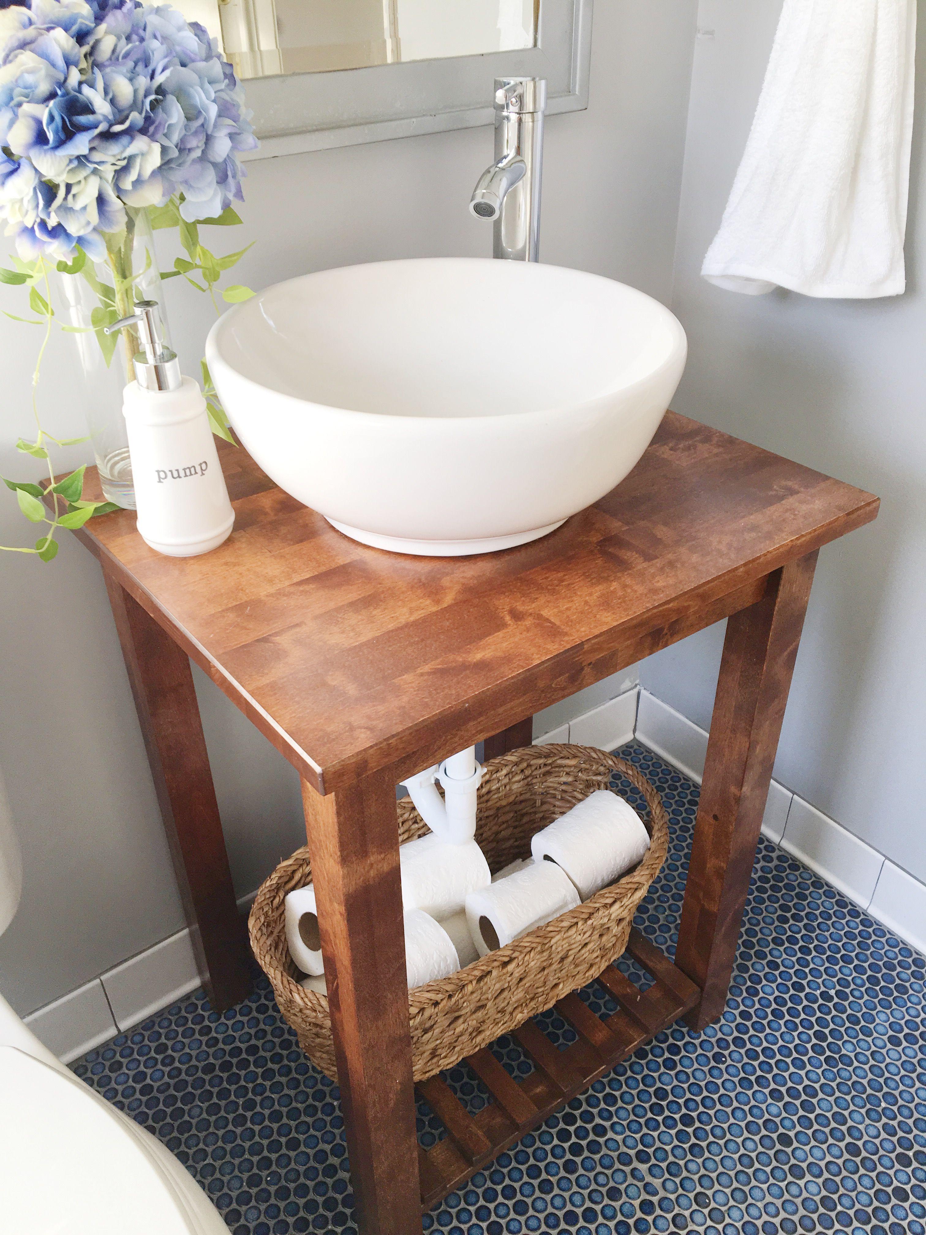 Ikea hack bathroom vanity with bekvam kitchen cart en 2019 for Bajo gabinete tocador bano de madera