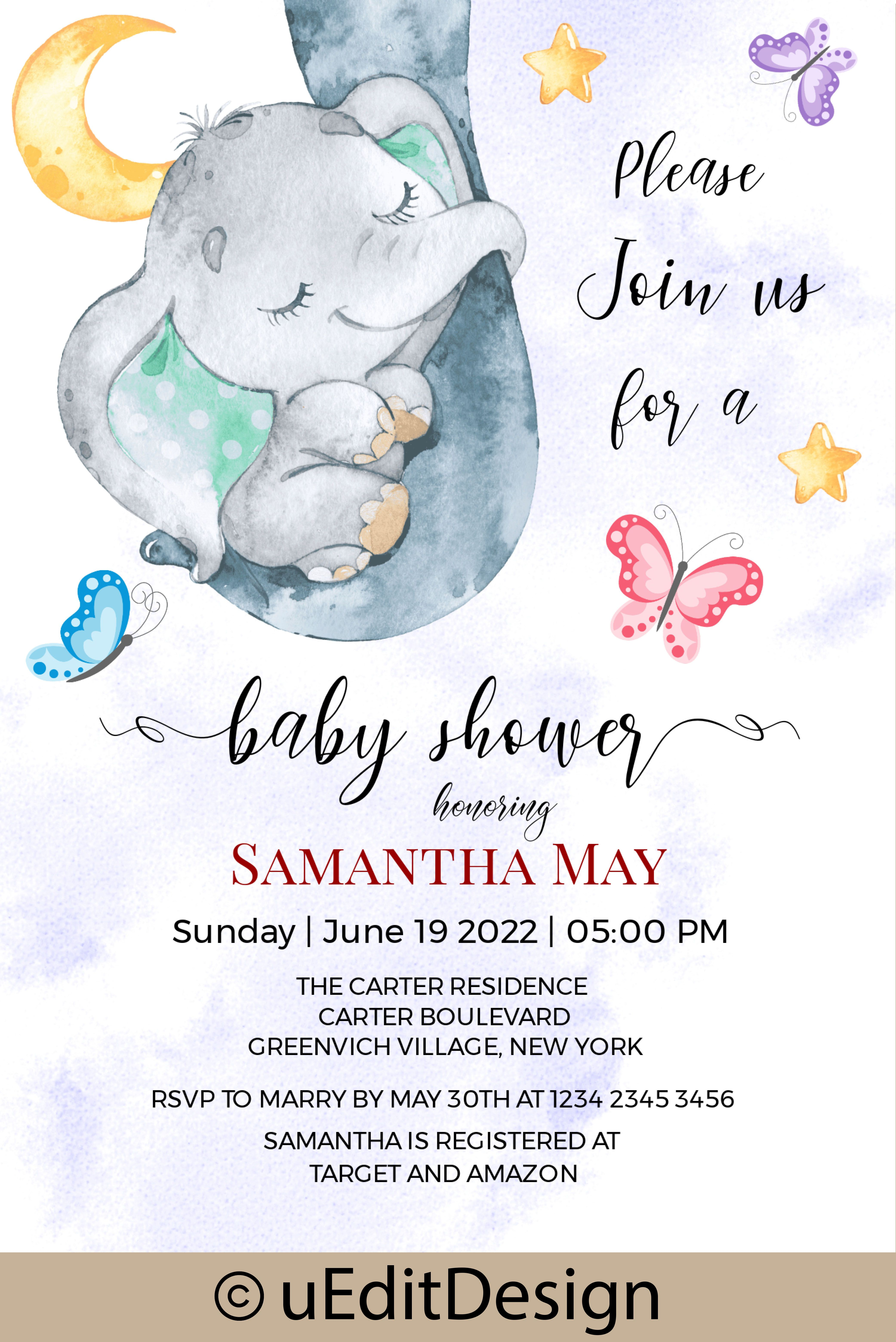 Sleeping Elephant Baby Shower Card Template Editable Baby Etsy Printable Baby Shower Invitations Baby Shower Invitation Templates Baby Shower Printables