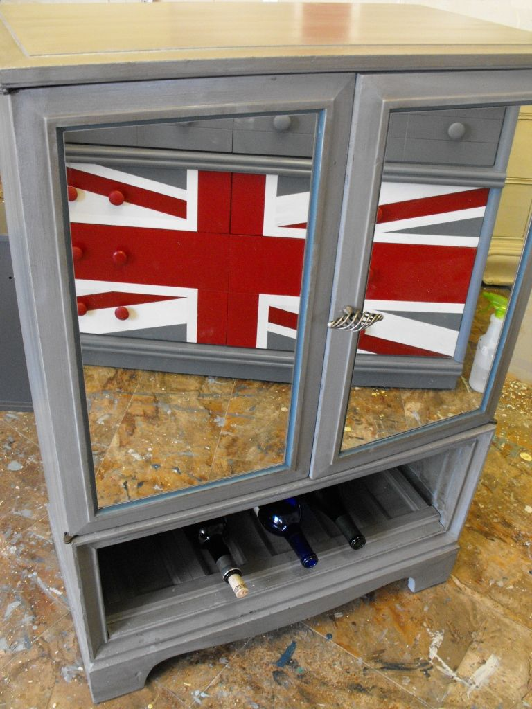 Upcycled Entertainment Unit To Chic Mirrored Wine Bar Painted By Liz Stevens Of Panther Creek