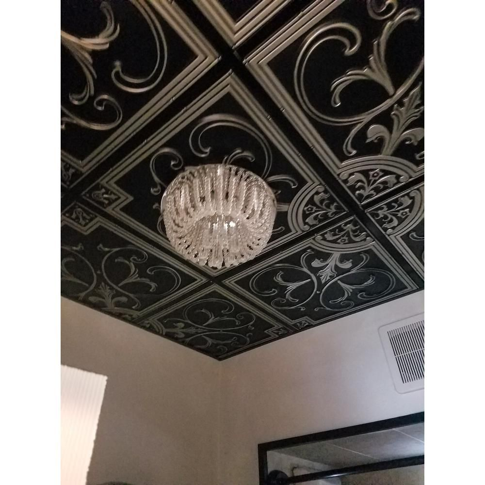 Udecor Madrid 2 Ft X 2 Ft Lay In Or Glue Up Ceiling Tile In Antique Silver 48 Sq Ft Case Ct 204 As The Home Depot In 2020 Modern Ceiling Tile Victorian Ceiling
