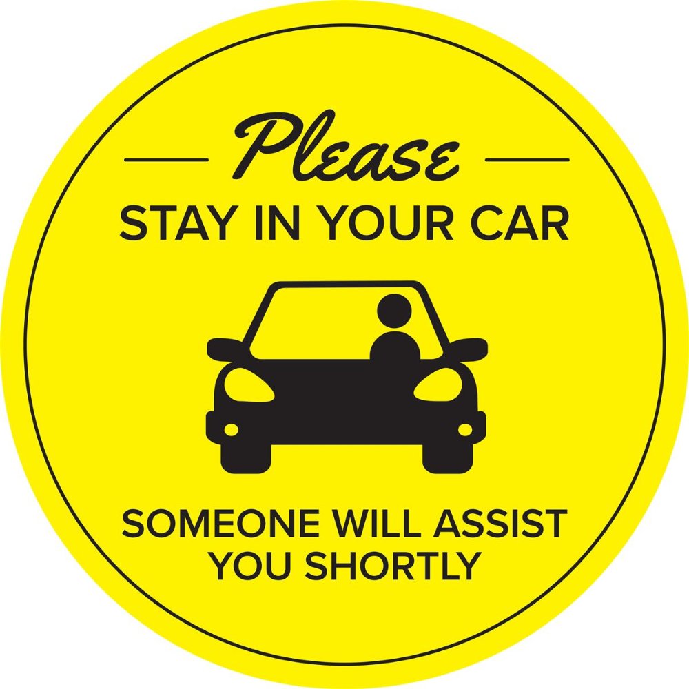 36 Pre Printed Floor Decal Circle For Curbside Pickup Stay In Your Car Yellow Floor Decal Custom Safes Floor Stickers [ 1000 x 1000 Pixel ]