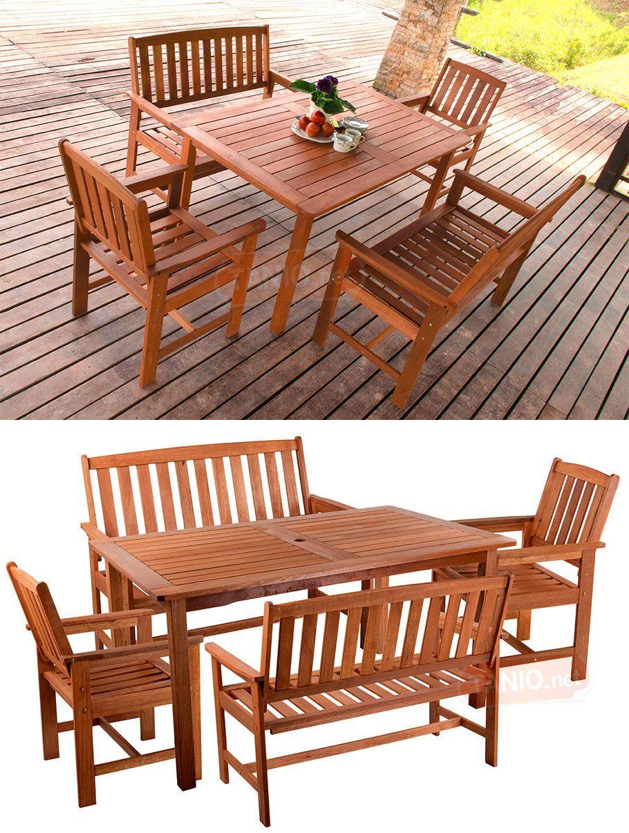 50 Zestaw Meble Ogrodowe Drewno Stół Krzesła 3669057137