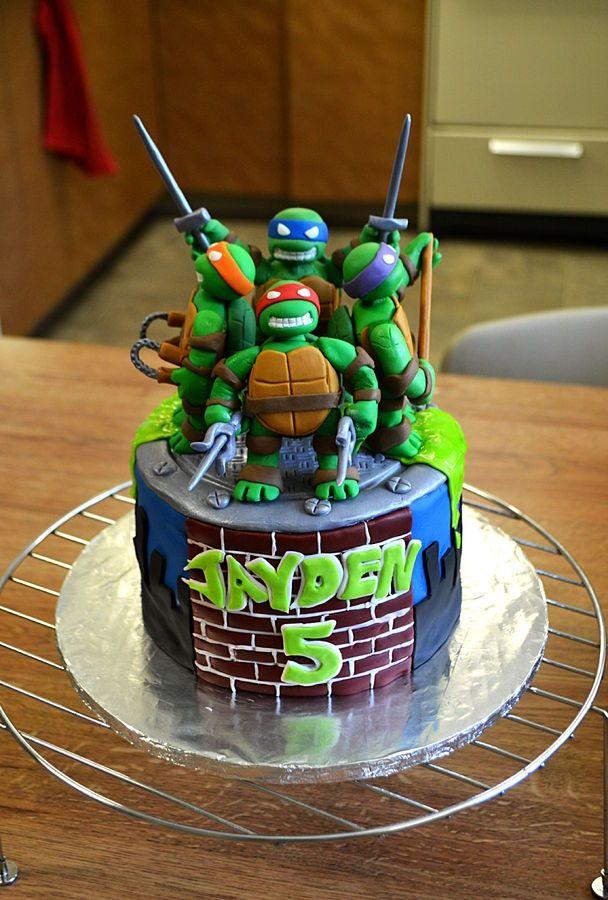 Terrific Teenage Mutant Ninja Turtles Birthday Cake Ninja Turtle Funny Birthday Cards Online Overcheapnameinfo