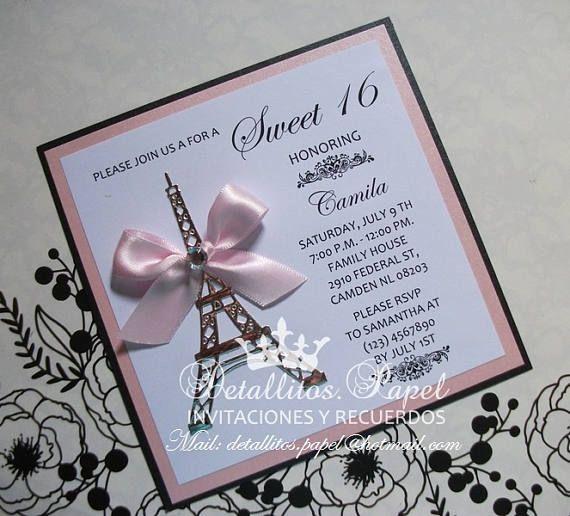 Quinceañera Invitation Paris Invitation Eiffel Invitation