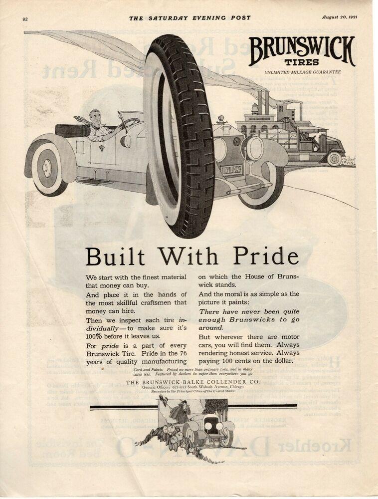 1921 Original Vintage Brunswick Tire Magazine Ad Magazine Ads Magazine Ads