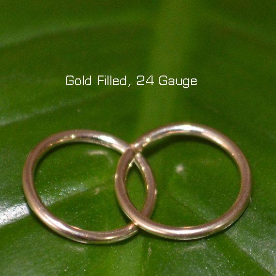 2 Small Gold Hoop Earrings 24 Gauge Cartilage Earring Helix Piercing Tragus