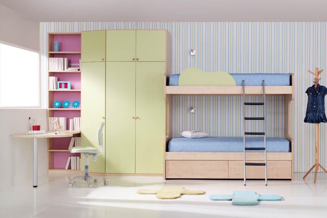 R42 dormitorio juvenil litera de dos camas con cajones for Muebles juveniles a medida barcelona