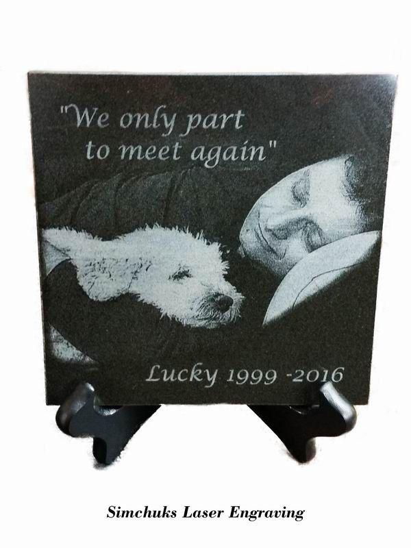 Pet Memorial Plaque Laser Engraved Black Granite Tile By Simchuks Laser Engraving Pet Memorial Plaque Laser Engraving Memorial Plaque