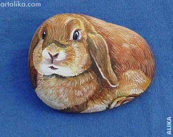 handpainted rocks bunnies peinture sur roche pinterest galets peints peinture sur galet. Black Bedroom Furniture Sets. Home Design Ideas