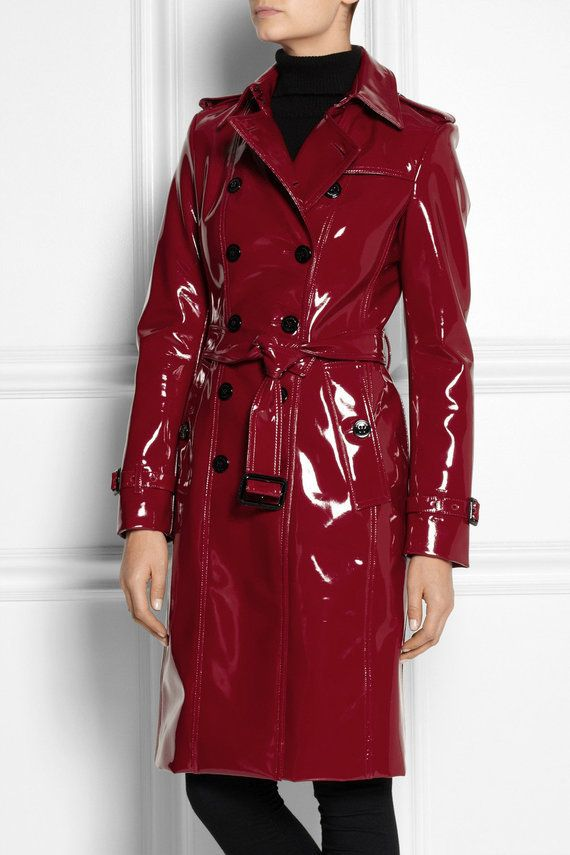 burberry red glossedvinyl trench coat product 2 fetish fashion pinterest lingerie femme. Black Bedroom Furniture Sets. Home Design Ideas