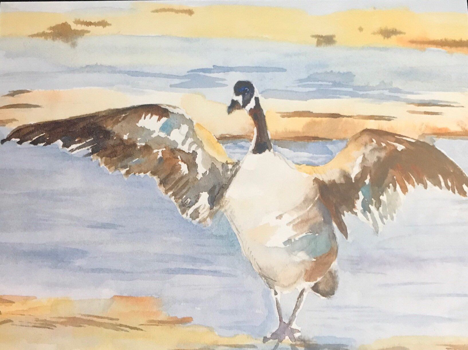 Canadian canada goose watercolor art print geese wall art