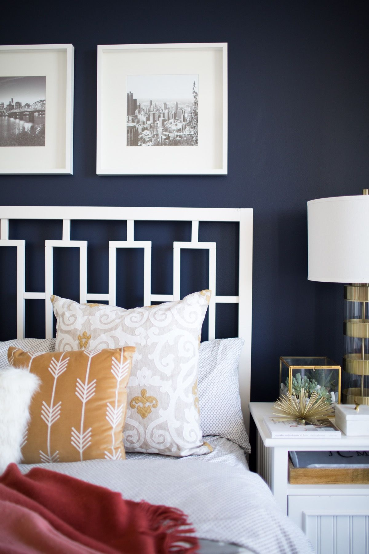 A Look Inside A Blogger s Navy and Mustard Bedroom