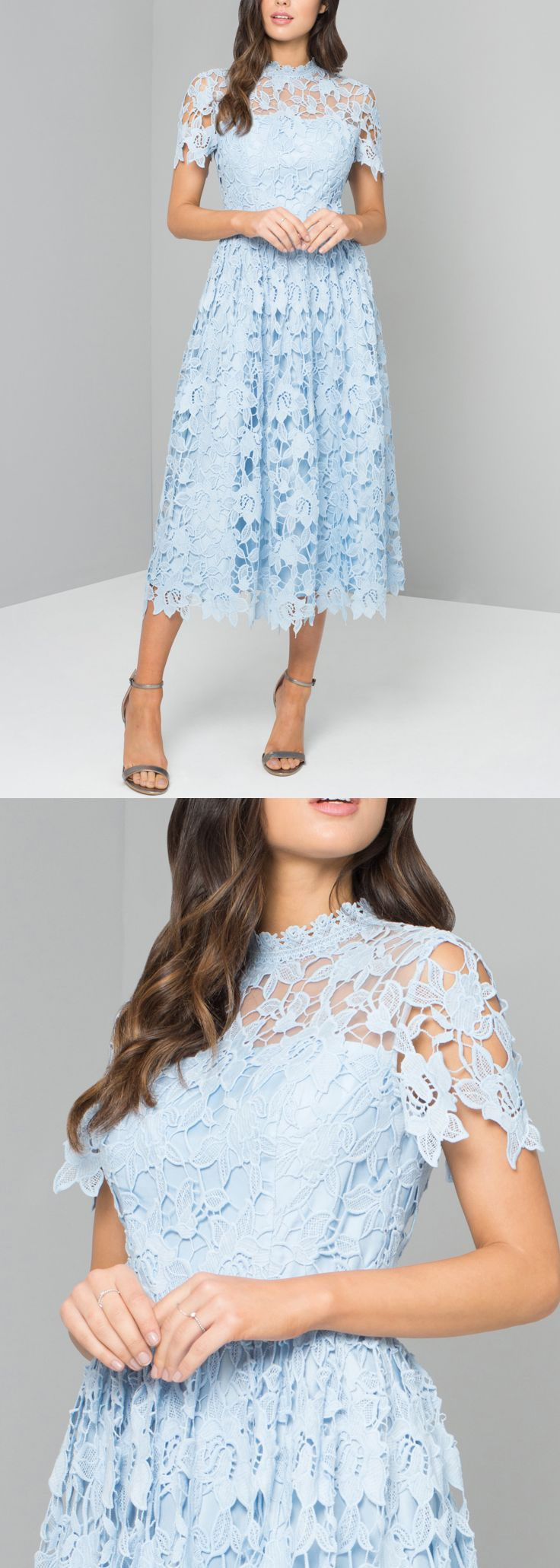 Baby blue long lace dress for a day at the races royal ascot epsom