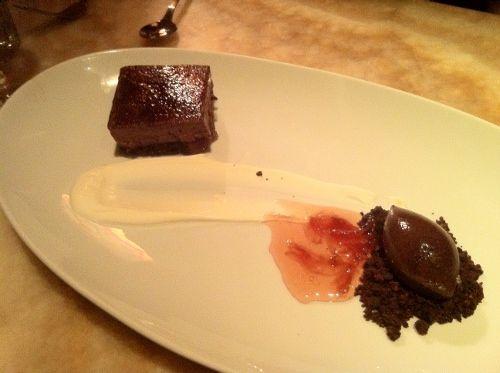 chocolate creme brûlée on date rose terrine, yogurt, cocoa sherbet, rose petal jam