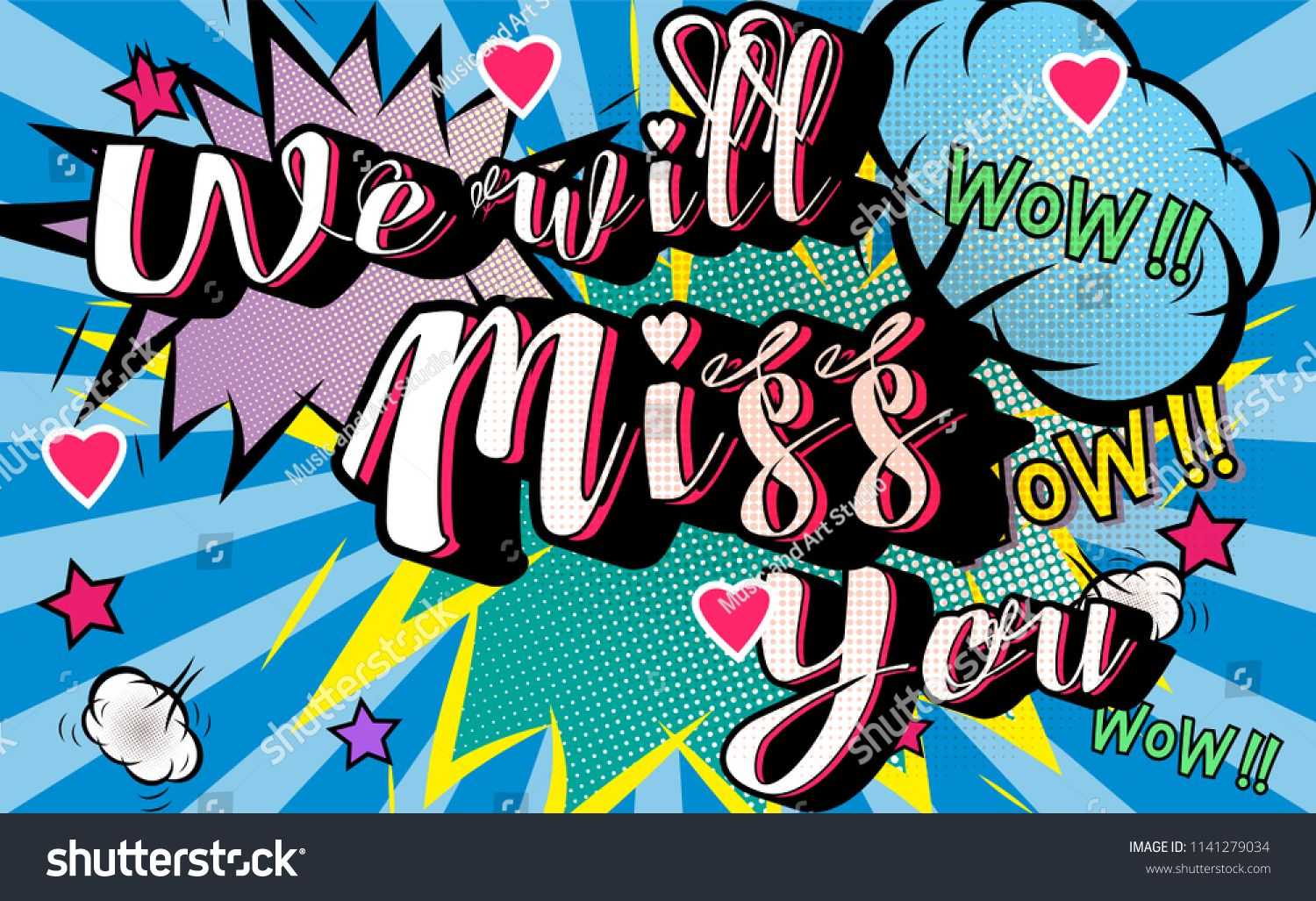 Farewell Party Template We Will Miss You Text Design Pop Art Comic Style Colorful Background For T Shirt Print Pop Art Comic Banner Printing Banner Template