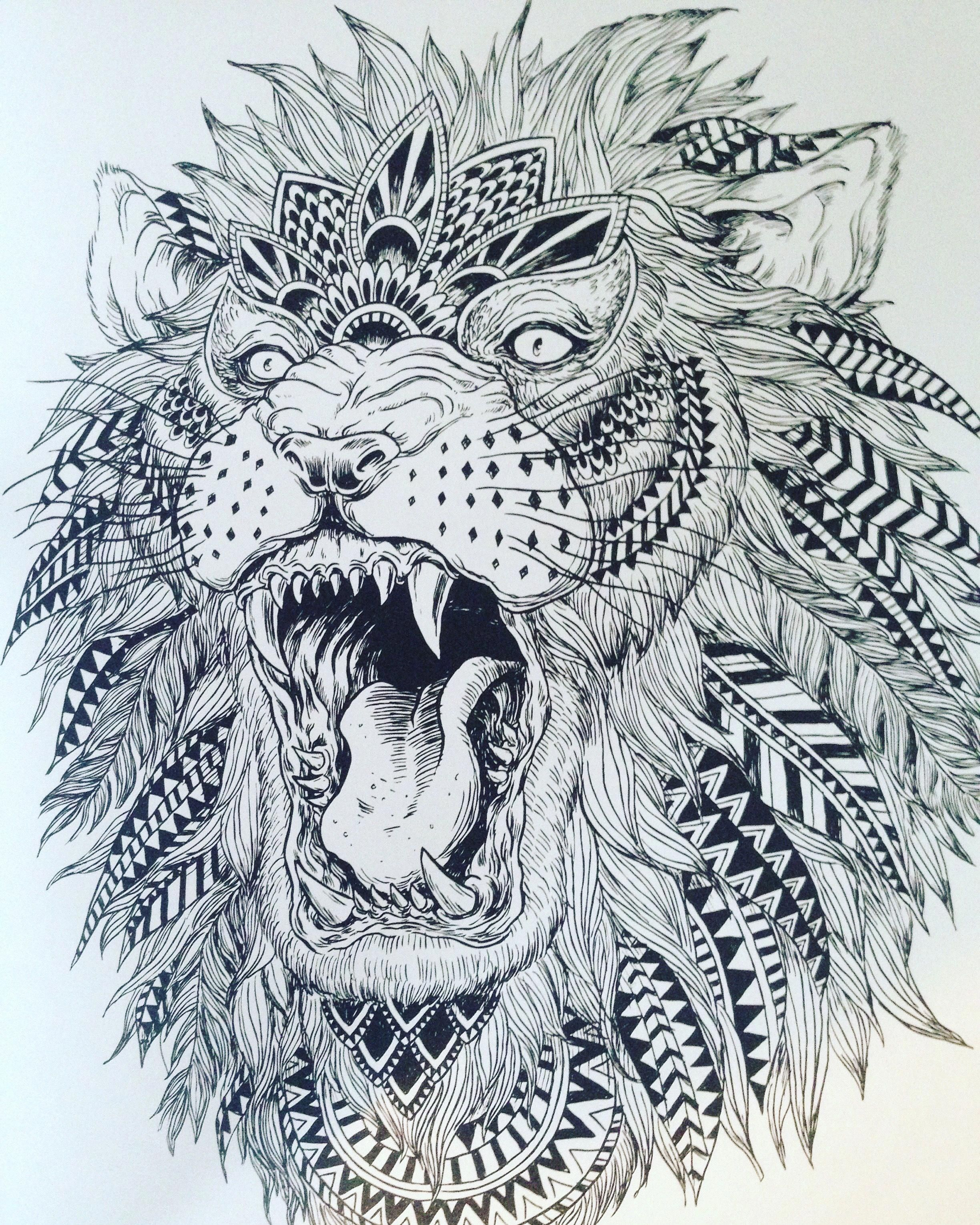 I Simply Am Into The Designs Outlines And Fine Detail This Really Is A Really Great Tattoo Design If You Tribal Lion Tattoo Tribal Lion Mandala Lion Tattoo