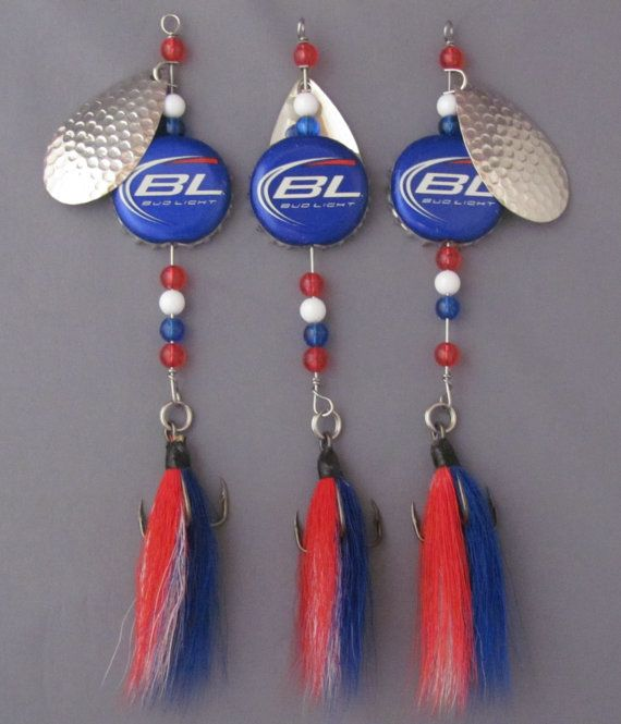 Beer cap fishing lures, Set of three spinners with bucktail dressed hooks