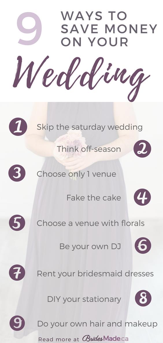 10 einfache Möglichkeiten, Geld bei Ihrer Hochzeit zu sparen!