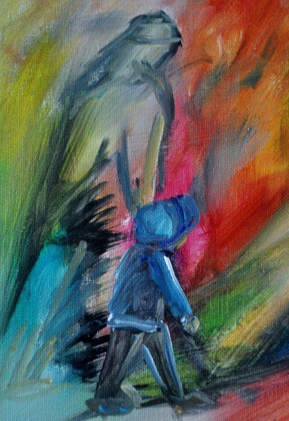 Coloful Contempory Christian Art, Jesus Walking with Boy ...