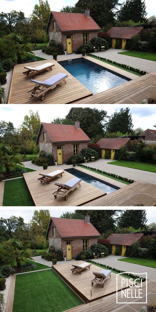The Rolling Deck is positioned above the pool as a wooden floor. #above #floor #poolimgartenideen