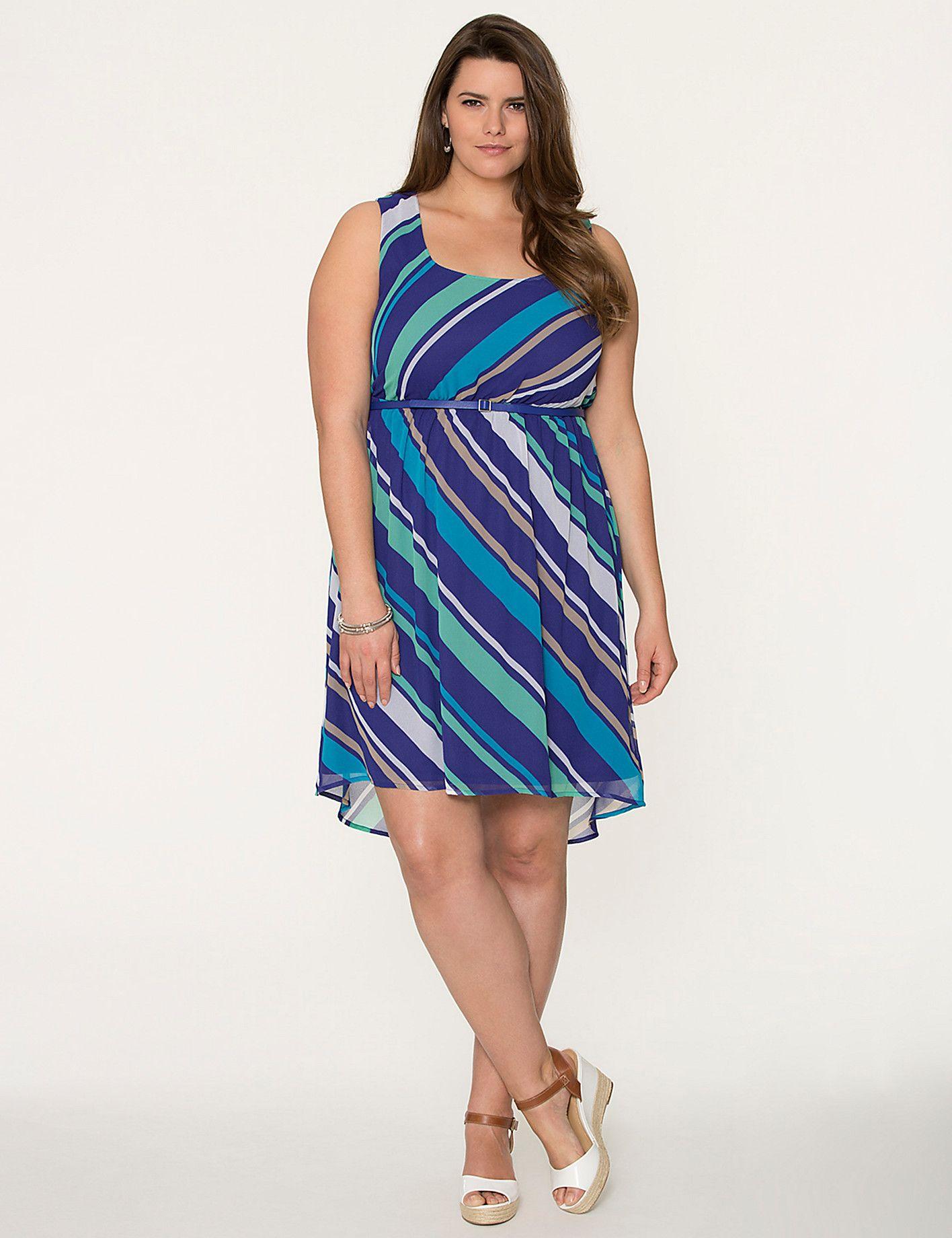 Full Figure Striped High Low Dress by Lane Bryant   Lane Bryant ...