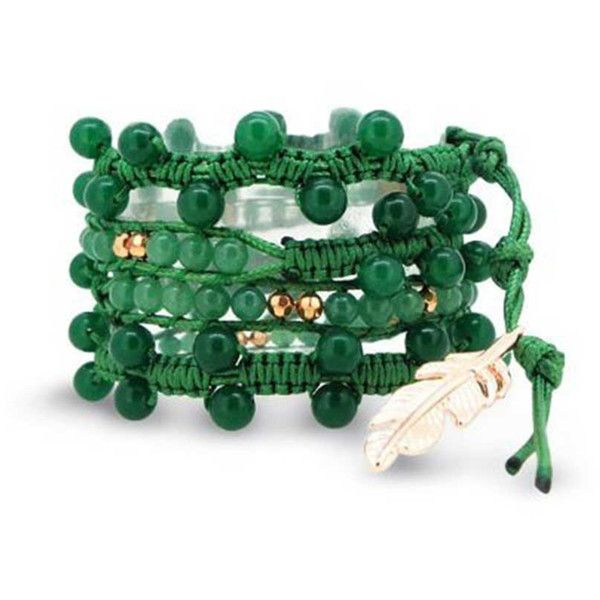 Bling Jewelry Bling Jewelry Simulated Aventurine Gemstone Bead Rose... ($33) ❤ liked on Polyvore featuring jewelry, bracelets, green, charm bangles, feather bangle, green jewelry, crochet wrap bracelet and wrap bracelet