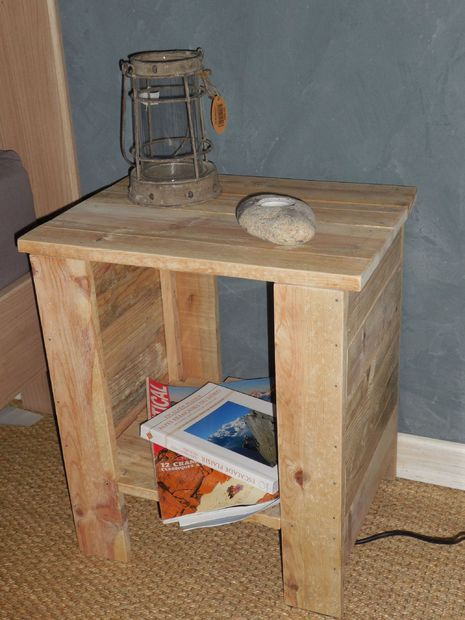 Simple Bedside Table With Pallet Pallet Side Table Diy End