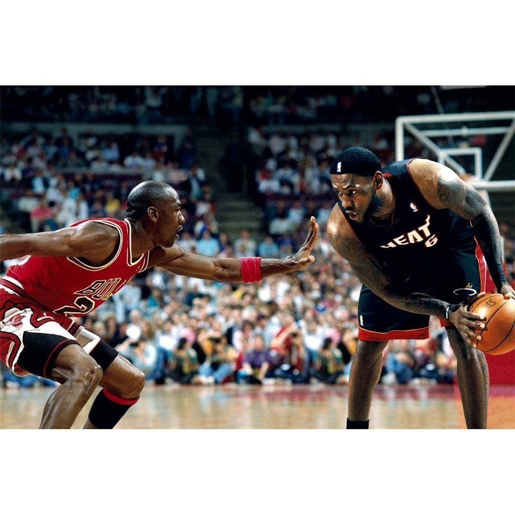 e4b047647712 Jordan  James. RoomScapeU - LeBron James Guarded By Michael Jordan Poster  ...