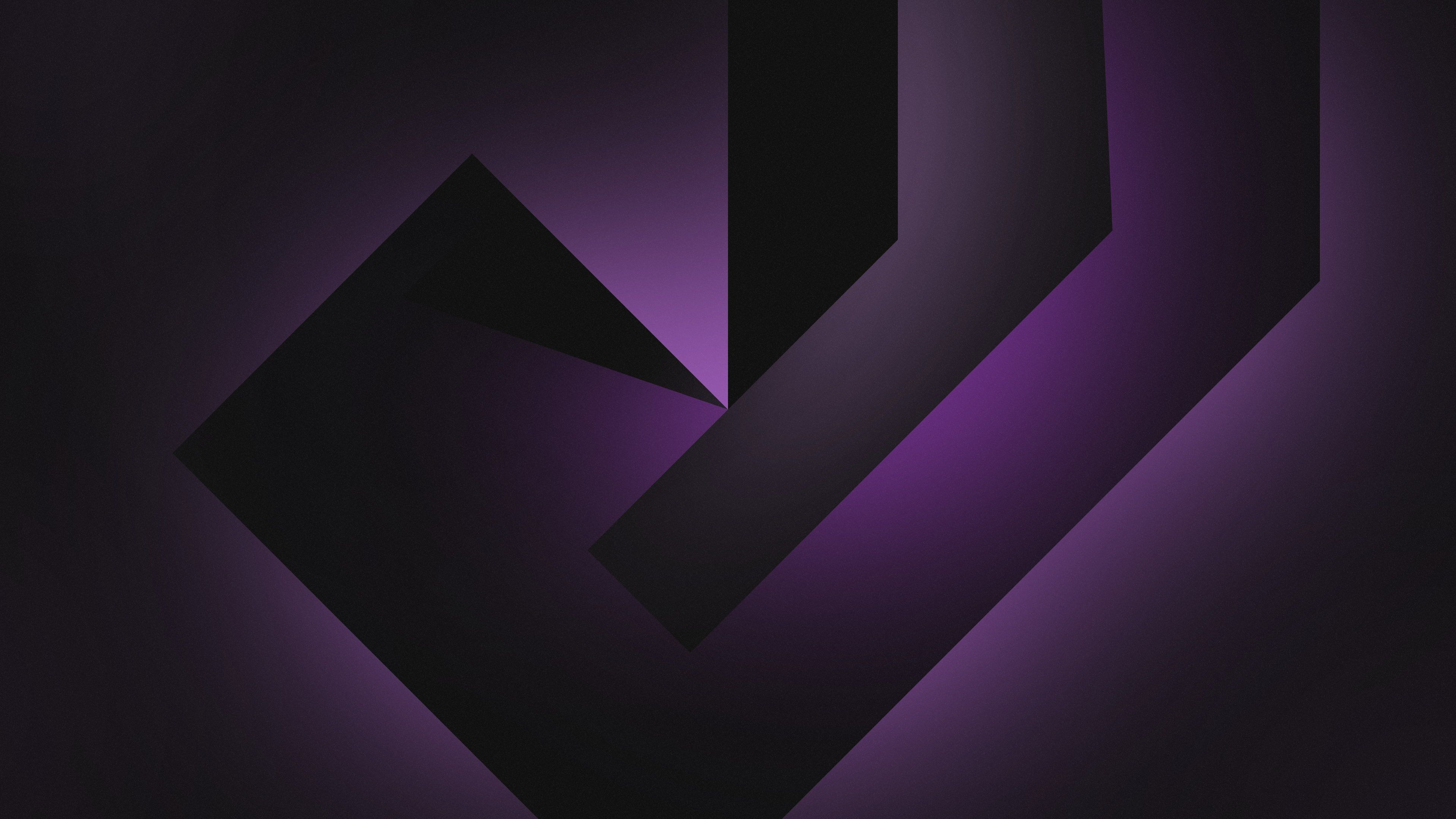 4k Dark Background Gradient Geometric Shapes Violet Black