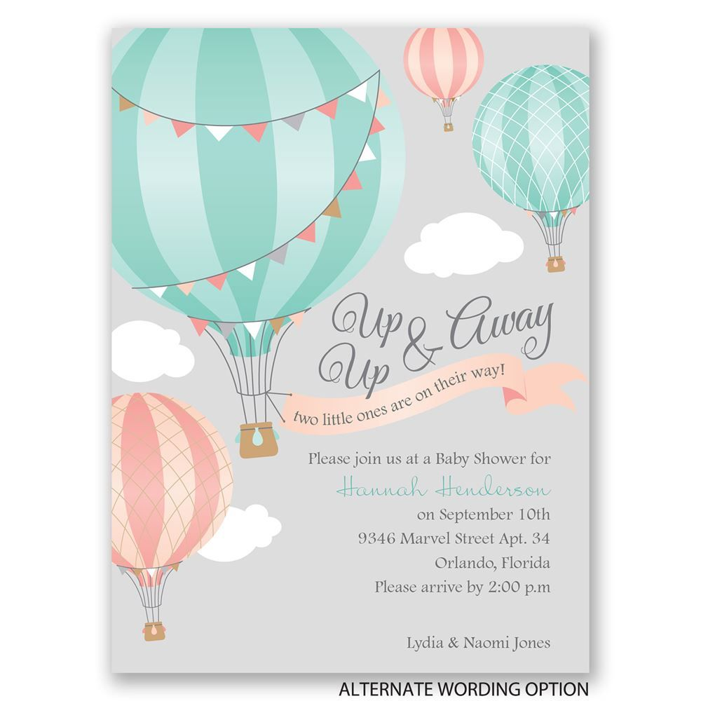 Where To Buy Invitations For Baby Shower Part - 35: Up, Up U0026 Away - Petite Baby Shower Invitation