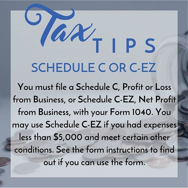 You must file either a Schedule C or a Schedule C-EZ | Tax Tips ...
