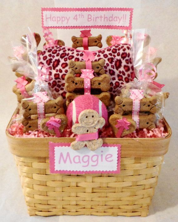 Birthday Dog Biscuit Treat Gift Basket With Squeak Toy Unique Personalized Pink Customize Animal Print